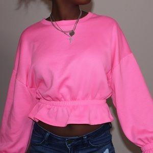 neon pink sweatshirt